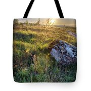 Sunrise In Field. Stone In Front Tote Bag