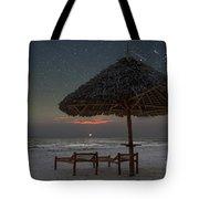 Sunrise In Tropical Beach Of Zanzibar With Starry Sky Tote Bag