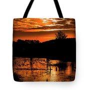 Sunrise Over A Pond Tote Bag