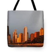 Sunrise Over Chicago Tote Bag