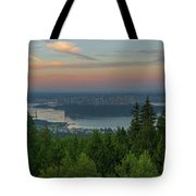 Sunrise Over City Of Vancouver Bc Canada Tote Bag