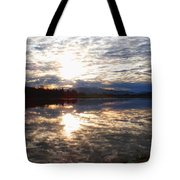 Sunrise Over Flooded Field In Bow Tote Bag