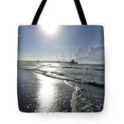 Sunrise Over Folly Beach Pier Tote Bag