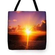 Sunrise Over Ocean, Sandy Beach Park Tote Bag