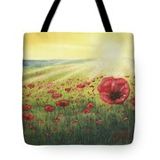 Sunrise Over Poppies Tote Bag