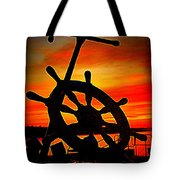 Sunrise Over The Captain's Wheel 2 Tote Bag