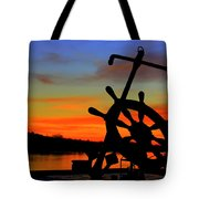 Sunrise Over The Captain's Wheel Tote Bag