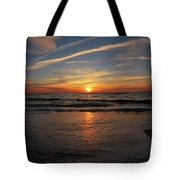 Sunrise Over The Waves Tote Bag