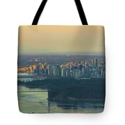 Sunrise Over Vancouver Bc And Stanley Park Panorama Tote Bag