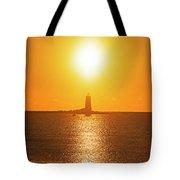 Sunrise Over Whaleback Light Portsmouth Nh New Hampshire Tote Bag