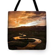 Sunrise Over Winding River Tote Bag by Wesley Aston