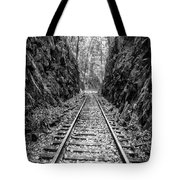 Sunrise Rails Black And White Vertical Panorama Tote Bag