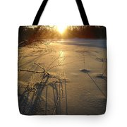 Sunrise Reflecting Off Mississippi River Ice Tote Bag