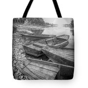 Sunrise Rowboats  In Black And White Tote Bag