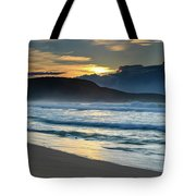Sunrise Seascape With Headland And Clouds Tote Bag