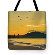Sunrise Seascape With Mountain And Birds Tote Bag