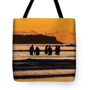 Sunrise Seascape With People Silhouettes Tote Bag