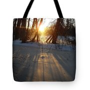 Sunrise Shadows On Ice Tote Bag