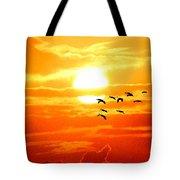 Sunrise / Sunset / Sandhill Cranes Tote Bag