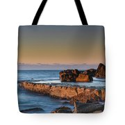 Sunrise, The Sea And Tessellated Rock Platform Tote Bag