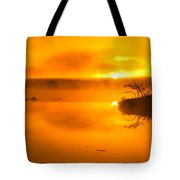 Sunrise Through Lake Mist Tote Bag