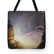 Sunrise Through The Pines Tote Bag by Diane Kraudelt