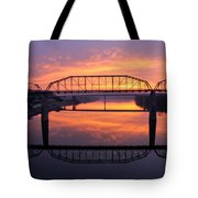 Sunrise Walnut Street Bridge 2 Tote Bag by Tom and Pat Cory