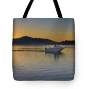 Sunrise Waterscape And Boat On The Bay Tote Bag
