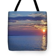 Sunrise With Boat Tote Bag