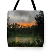 Sunset Above The Forest And Lake Tote Bag