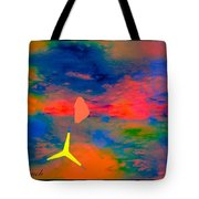 Sunset Abstract With Windmill Tote Bag