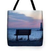 Sunset And Bench Tote Bag