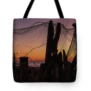 Sunset And Fishing Net Cape May New Jersey Tote Bag
