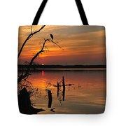 Sunset And Heron Tote Bag