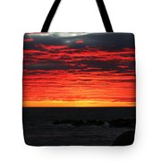 Sunset And Jetty Tote Bag by William Selander