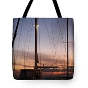 Sunset And Sailboat Tote Bag