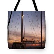 Sunset And Sailboat Tote Bag