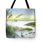 Sunset And Sea Oats At Siesta Key Public Beach -wide Tote Bag