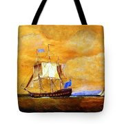 Sunset And Ships Tote Bag