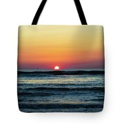 Sunset And Waves Tote Bag