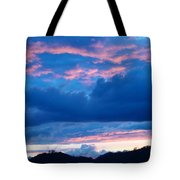 Sunset Art Print Blue Twilight Clouds Pink Glowing Light Over Mountains Tote Bag