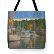 Sunset At Boothbay Harbor Maine Tote Bag