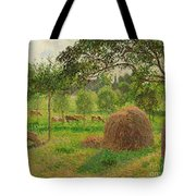 Sunset At Eragny Tote Bag by Camille Pissarro