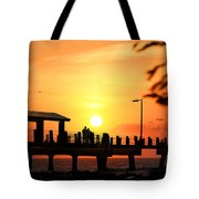 Sunset At Fort De Soto Fishing Pier Pinellas County Park St. Petersburg Florida Tote Bag