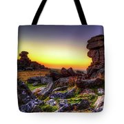 Sunset At Great Staple Tor On Dartmoor Tote Bag