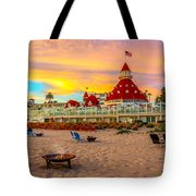 Sunset At Hotel Del Coronado Tote Bag