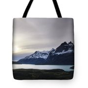 Sunset At Lago Pehoe  In The Cuenos Del Tote Bag