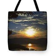Sunset At Multnomah Falls Tote Bag