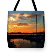 Sunset At Newport Beach Harbor Tote Bag