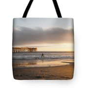 Sunset At Pacific Beach Pier - Crystal Pier - Mission Bay, San Diego, California Tote Bag